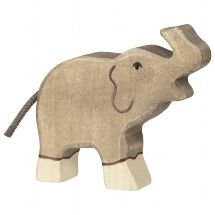 Holztiger Small Elephant With Trunk Raised Figure