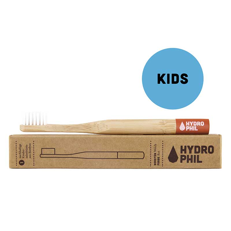 Hydrophil Red Kids Bamboo Toothbrush With Plant Based Bristles