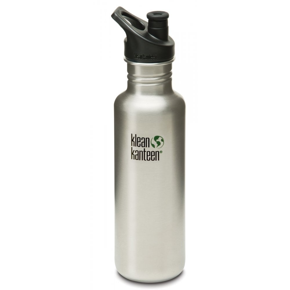 Klean Kanteen Classic Sports Cap Bottle 27oz/800ml - Brushed Stainless