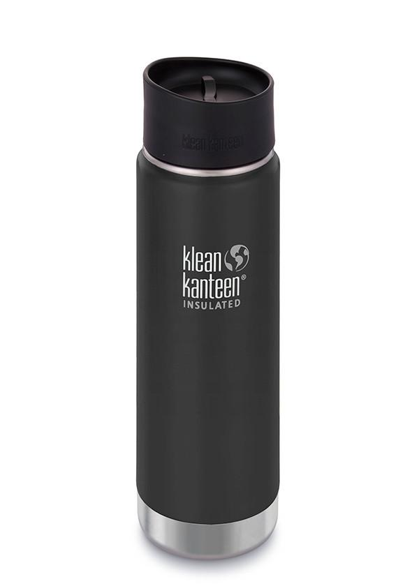 Klean Kanteen Wide Vacuum Insulated 20oz/592ml Bottle With Cafe Cap - Shale Black