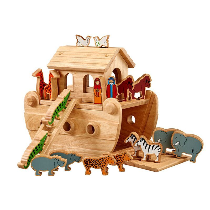Lanka Kade Junior Natural Noah's Ark & 18 Wooden Colourful Figures