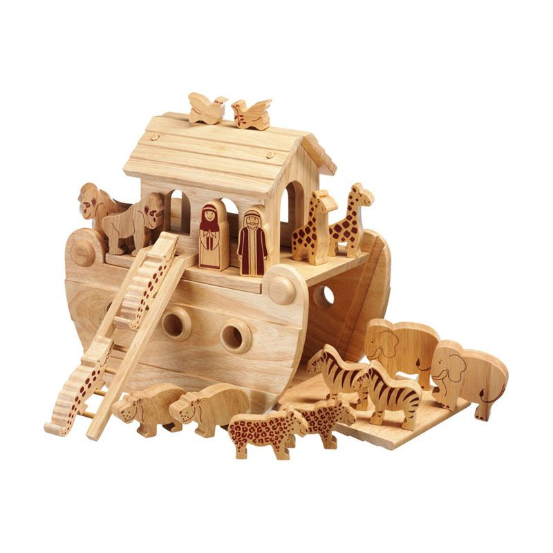 Lanka Kade Junior Natural Noah's Ark & 18 Wooden Figures