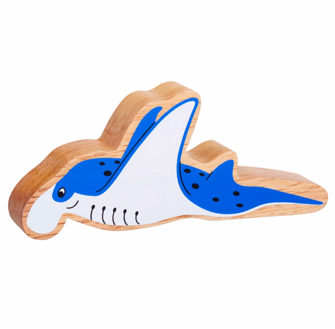 Lanka Kade Wooden Natural Blue & White Manta Ray