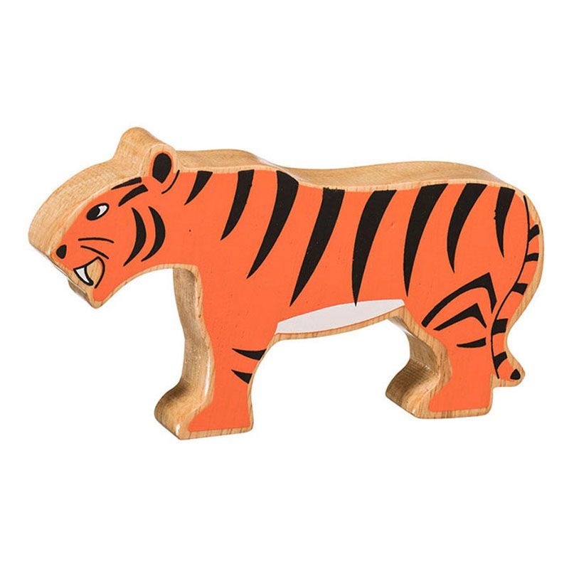 Lanka Kade Wooden Natural Orange Tiger Figure