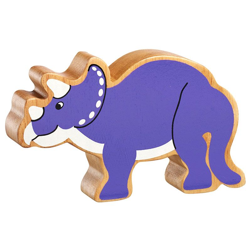 Lanka Kade Wooden Natural Purple Triceratops Dinosaur Figure