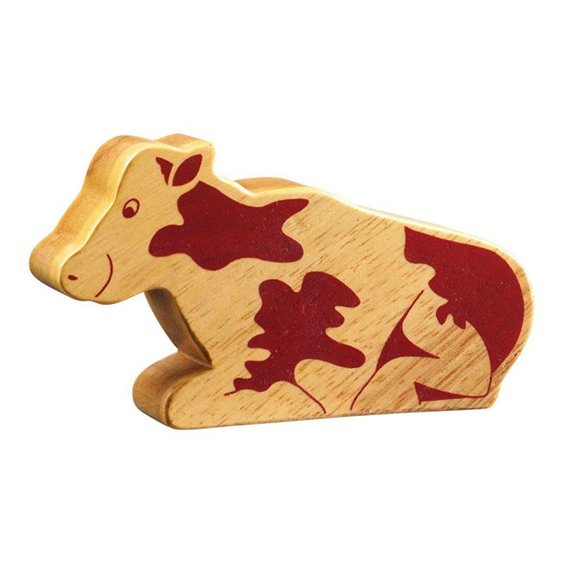 Lanka Kade Wooden Natural Sitting Cow Figure