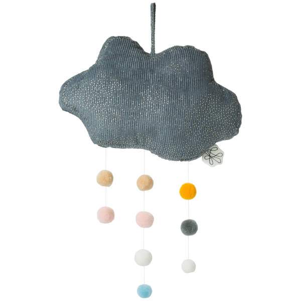 Picca LouLou Hanging Corduroy Cloud With Pompons - Grey