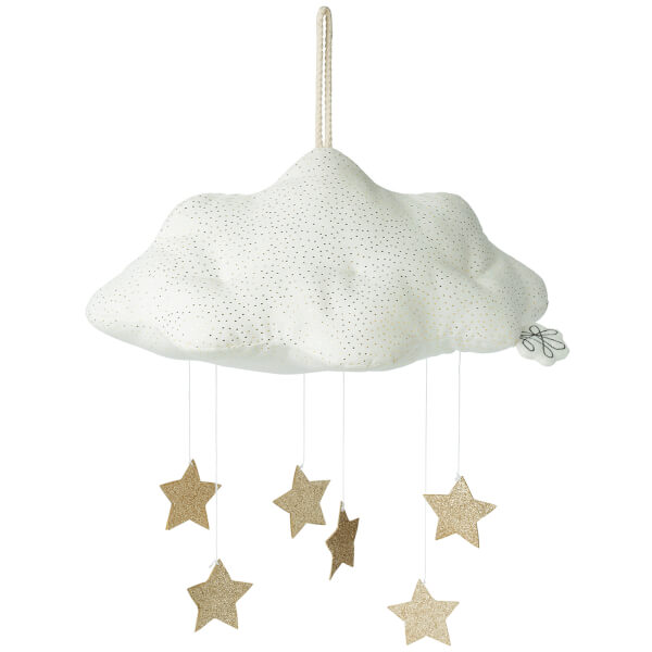 Picca LouLou Hanging Corduroy Cloud With Stars - White