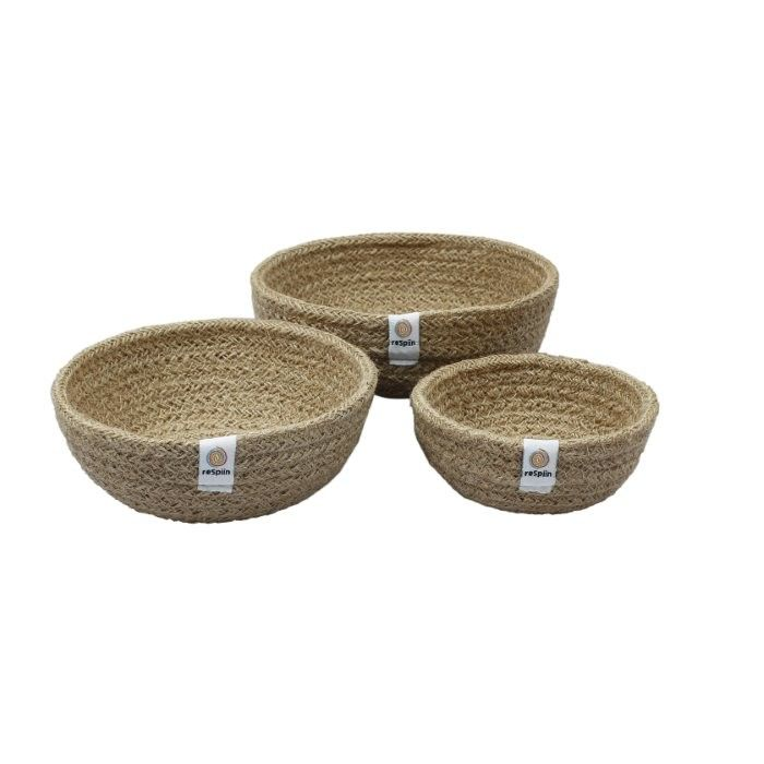 ReSpiin 3pc Mini Jute Bowl - Natural