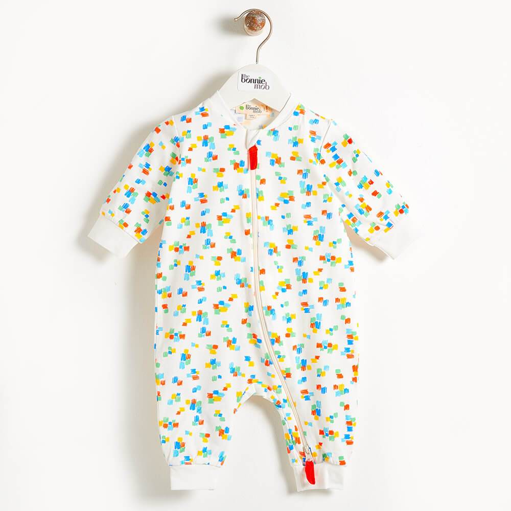 The Bonnie Mob Darnell Zip Front Baby Playsuit - Multicolour
