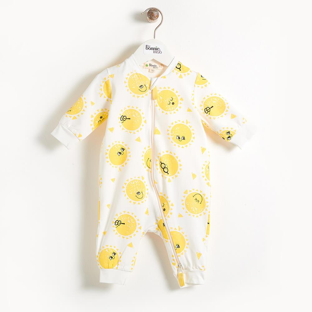 The Bonnie Mob Darnell Zip Front Baby Playsuit - Sunshine